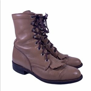 Justin Lace Up Kiltie Taupe Roper Leather Boots